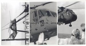 su3263 - Close Views of a Royal Navy Helicoptor Landing on Ship - 3 photographs