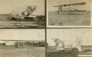 1913 Texas City Texas Multiview RPPC: Wreck of Airplane 11 At Mobilization Camp