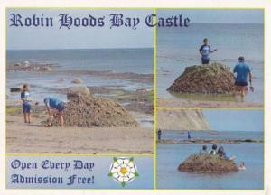 Robin Hoods Bay Making Sand Castles Gift Shop Advertising Yorkshire Postcard