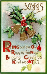 Christmas & New Year - Bells Holly Embossed - Vintage - POSTCARD PC POSTED
