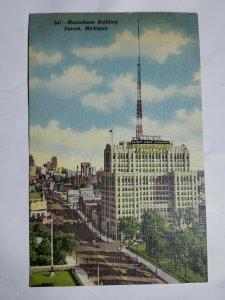 Vintage Postcard Maccabee Building Detroit Michigan Woodward Putnam Linen Unpost