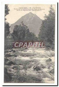 Old Postcard Cauterets Pierrefitte relief road bridge and peak Peguere (altit...