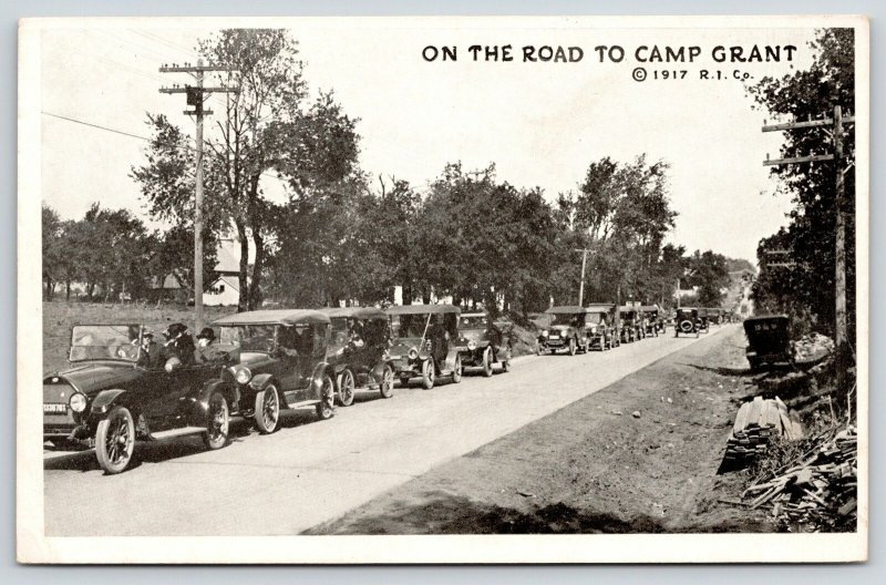 Camp Grant Illinois~Long Line of Autos on the Road~Vintage Cars~1917 WWI Era B&W