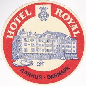 Denmark Aarhus Hotel Royal Vintage Luggage Label sk1581