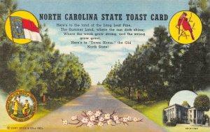 NC,  NORTH CAROLINA STATE TOAST CARD  Flag~Bird  c1940's Curteich Linen Postcard