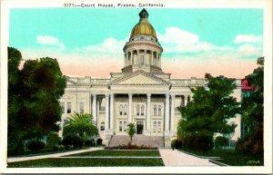 Fresno CA Court House Golden Dome Postcard unused 12237