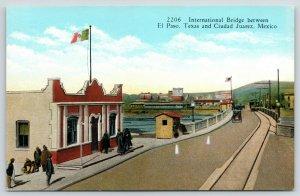 El Paso Texas-Ciudad Juarez Mexico~International Bridge~Mexican Flag~c1915