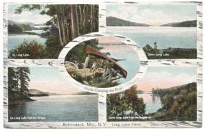Adirondack Mountains NY Multi-View Birch Bark Postcard