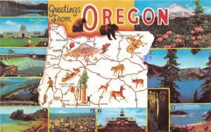 Oregon State Map Postcard~11 Scenes w Info on Back~Seacoast-Crater Lake-Mt Hood