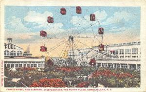 Coney Island NY Ferris Wheel Steeplechase The Funny Place 1922 Postcard