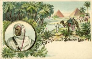 egypt, CAIRO, Pyramids, Native Chief from Bedouin Camp (1899) Litho
