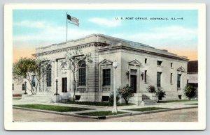Centralia Illinois~US Post Office~Flag on Roof~1940s Postcard