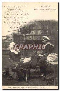 Old Postcard Folklore songs illustrees Th Botrel The thread breaks Marino