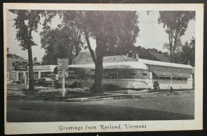 Mint Vintage Greetings from Lindholms Diner Rutland VT Real Photo Postcard RPPC