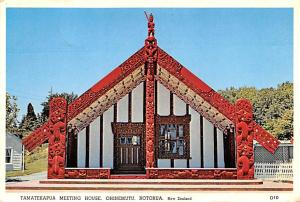 New Zealand Old Vintage Antique Post Card Tamatekapua Meeting House Rotorua 1975