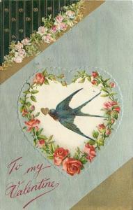 Valentine~Blue Barnswallow~Heart In Beak~Roses~Teal~Art Nouveau~Gold~Emb~Winsch