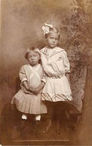 People and Children Photographed on Postcard, Old Vintage Antique Post Card 2...