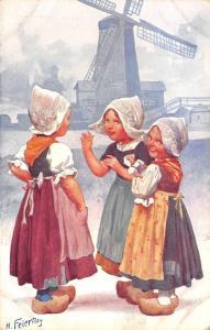 Feiertag~Lil Dutch Girls Gossip Below Blue Windmill~BKWI 922-6~1910 Austria PC