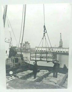 Vintage Photo Irish & Mersey S S Co Ltd Loading Marine Box at Docks Holepunched