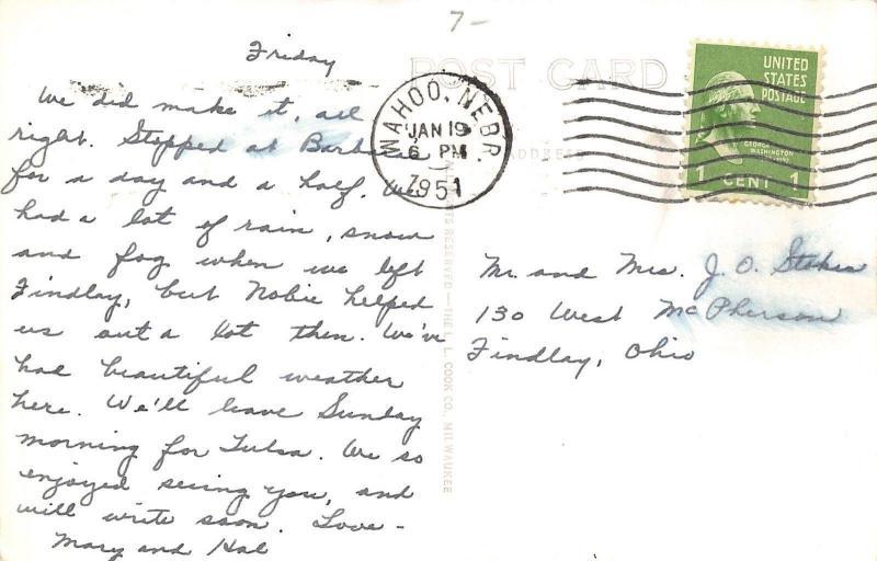 Wahoo Nebraska~Linden Street~Beer~Radio~Hardware~Meats~1930s Cars~1951 RPPC
