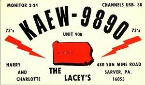 QSL Radio Card From Sarver PA Pennsylvania KAEW-9890