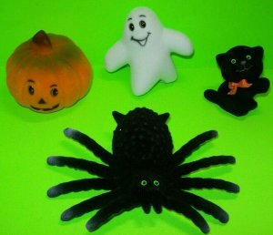 Vintage Halloween Flocked Toys Black Widow Spider Cat Ghost NOS 1960s Hong Kong