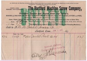 1899 Billhead, THE HARTFORD MACHINE SCREW COMPANY, Hartford, Connecticut