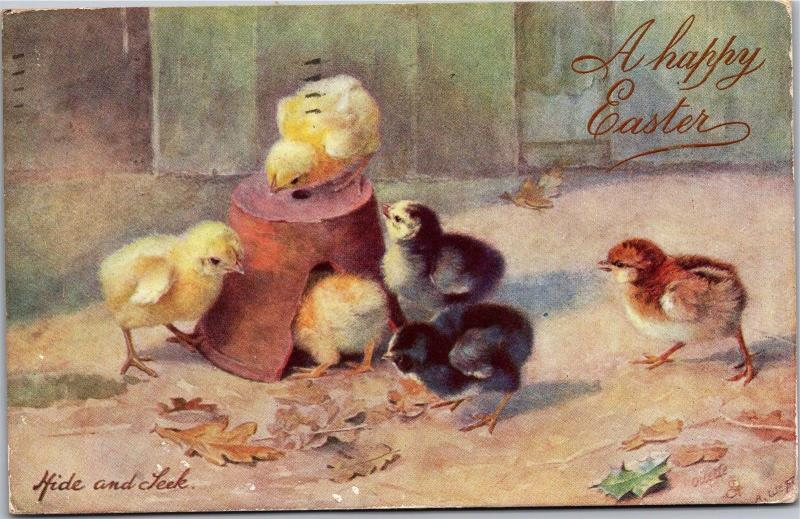 Tucks Easter Series II Hide and Seek Chicks Pot c1908 Vintage Postcard K16