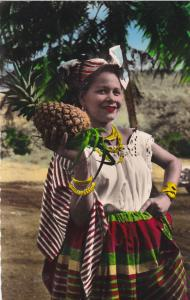 RP, Woman Holding A Pineapple, Belle In Local Costume, MARTINIQUE, 1920-1940s