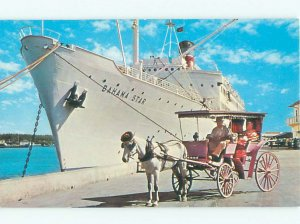 Pre-1980 HORSE-DRAWN CARRIAGE AT BAHAMAS CRUISE BOAT Nassau Bahamas AF4601@