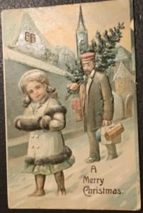 Vintage European styled embossed Christmas postcard greeting card (1908)