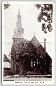 Marshall Michigan~Tree Partially Obscures Episcopal Church~Nice Steeple~1920s