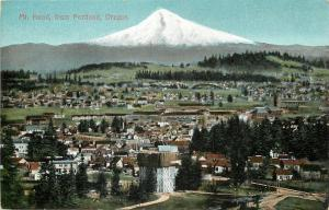 Portland Oregon~Town View~Homes~Dirt Roads~Mt Hood~1910 Postcard