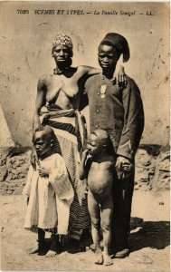 PC CPA ETHNIC NUDE FEMALE SENEGAL TYPE GIRL & FAMILY AFRICA Postcard (b607)