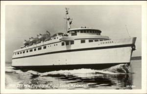 Puget Sound Ferry Boat Flagship MV Chinook Johnston Real Photo Postcard