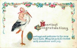 Heartiest Congratulations Greetings and welcome to the newborn Baby -Stork 04.91