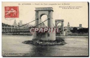 Postcard Old Bridge Avignon profile suspension bridge over the Rhone