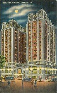 Autos Night Hotel John Marshall Richmond Virginia 1939 Postcard linen 10429