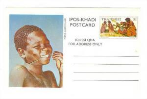 Ipos-Khadi Postcard, Boy Smiling, Transkei-Stamp, South Africa, 1976