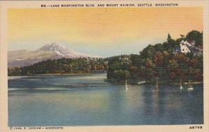 Lake Washington Boulevard And Mount Rainier Seattle Washington