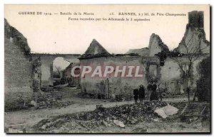 Old Postcard From War Battle of the Marne Bannes Fere Champenoise Farm burned...
