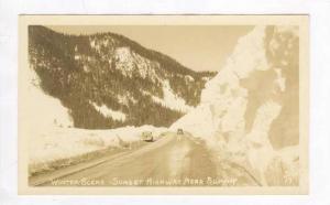 RP: Autos on Snowy Sunset Highway,Washington 1930-40s