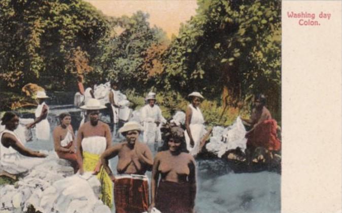 Panama Colon Washing Day Native Washerwomen Nude Topless