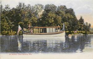 c1910 Postcard; House Boat At Anchor, Geneva, WI, Walworth County Unposted Nice