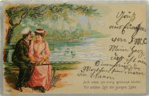 Switzerland 1900 chromo litho postcard Elgg cancel UPU stamp couple lovers