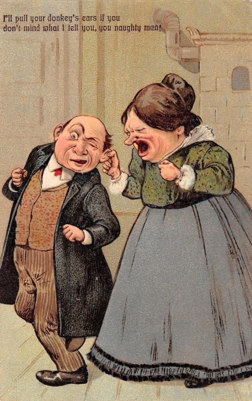 PFB~Shrewish Woman Pulls Naughty Man's Donkey Ear~Won't Do as Told~1908 Postcard