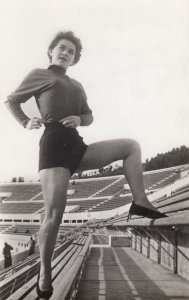 RP: Woman in stadium , 1930-40s