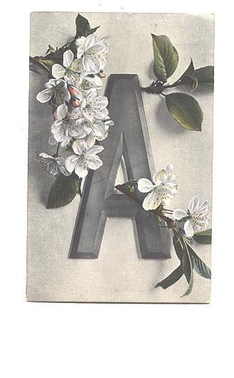 Nice Tinting, Alphabet 'A' with Blossoms