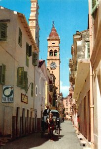 Greece Corfu St Spiridion's Street Horse Carriage Volfram Clock Tower Postcard