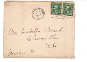 Cover, Lynchburg, Virginia to Chervsville, Maryland Used 1921
